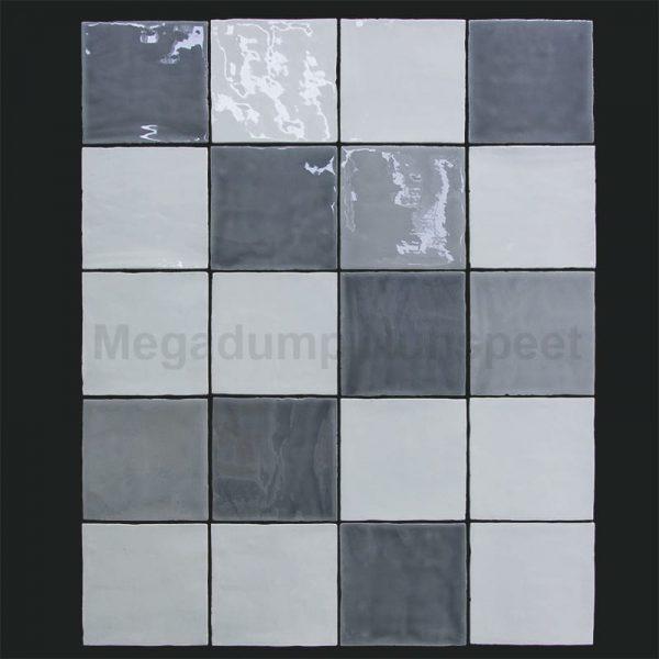 Keukentegels wit licht grijs en donker grijs hollandse witjes for Gang grijs en wit